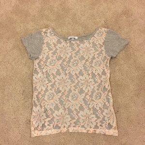 Short sleeve lace front top